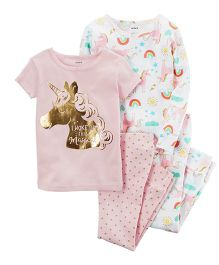 Carter's 4 Piece Snug Fit Cotton PJs - Pink White