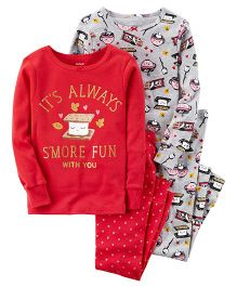 Carter's 4-Piece S'more Snug Fit Cotton Night Wear Set Pack of 2 - Red