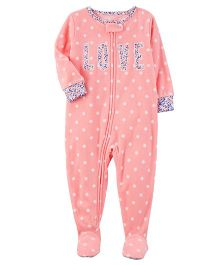 Carter's Dotted Microfleece Sleepsuit - Pink