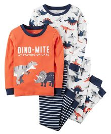Carter's 4-Piece Snug Fit Cotton PJs - Orange Black White
