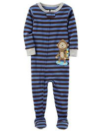 Carter's Stripes and Monkey Applique Sleepsuit - Blue