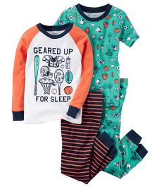 Carter's 4-Piece Snug Fit Cotton PJs - Orange White Green