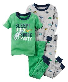 Carter's 4-Piece Snug Fit Cotton PJs - Green Grey