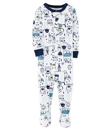 Carter's 1-Piece Glow-In-The-Dark Snug Fit Cotton Sleep Suit - White