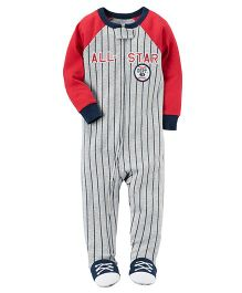 Carter's 1 Piece Snug Fit Cotton PJs - Red Grey
