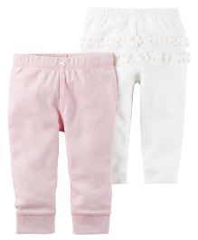 Carter's 2 Pack Babysoft Pants - White Pink