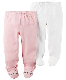 Carter's 2-Pack Babysoft Footed Pants - Pink White