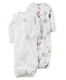 Carter's 2 Pack Babysoft Sleeper Gowns - Grey White