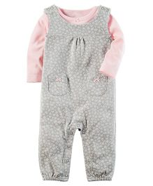 Carter's 2-Piece Babysoft Coverall Set - Pink Grey