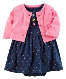 Carter's 2-Piece Bodysuit Dress & Neon Cardigan Set - Navy Pink