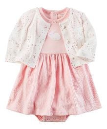 Carter's 2 Piece Bodysuit Dress & Cardigan Set - Pink White