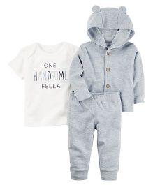 Carter's 3 Piece Heathered Little Jacket Set - White Grey