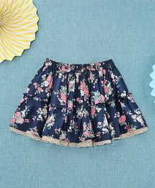 NeedyBee Floral Printed Skirt - Blue