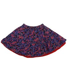 Needybee Floral Printed Suede Skirt - Blue & Red