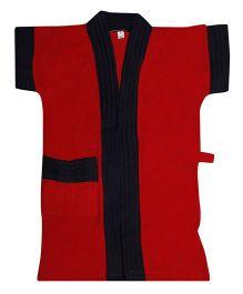 Pebbles Half Sleeves Bathrobe - Red & Black
