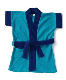 Pebbles Half Sleeves Bathrobe - Blue & Navy Blue