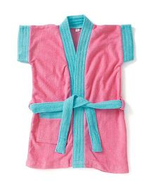 Pebbles Half Sleeves Bathrobe - Blue & Pink