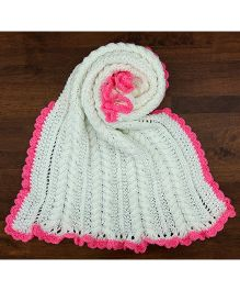 Magic Needles Cable Bordered Blanket - White & Pink