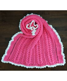 Magic Needles Cable Bordered Blanket - Florescent Pink