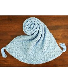 Magic Needles Cable Tassled Blanket - Baby Blue