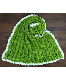 Magic Needles Cable Bordered Blanket - Olive Green