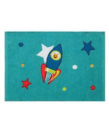 Saral Home Premium Quality Rug Rocket Design - Green