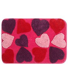 Saral Home Premium Quality Bathmat Hearts Design - Pink