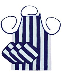 Saral Home Premium Quality Apron And Napkins Set - Blue White
