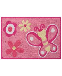 Saral Home Bath Mat Butterfly Design - Pink
