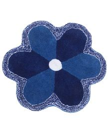 Saral Home Flower Shape Bath Mat - Blue