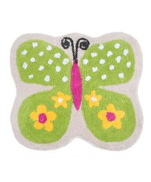 Saral Home Butterfly Design Bath Mat - Green