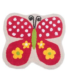 Saral Home Butterfly Design Bath Mat - Red
