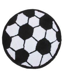 Saral Home Premium Quality Bath Mat Football Design - Black White