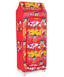 Kids Zone Multi Purpose Almirah Kitty Print - Red