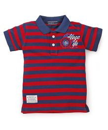 Smarty Half Sleeves Stripes T-Shirt - Deep Red Navy