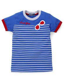 Smarty Half Sleeves T-Shirt Stripes Printed - Royal Blue
