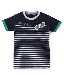 Smarty Half Sleeves T-Shirt Stripes Printed - Navy