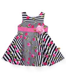 Yellow Duck Sleeveless Stripe Frock Flower Applique - Black White Pink