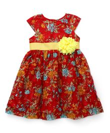 Yellow Duck Cap Sleeves Frock Floral Print - Red