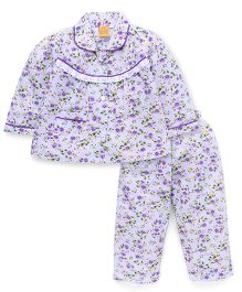 Yellow Duck Full Sleeves Night Suit Floral Print - Purple White