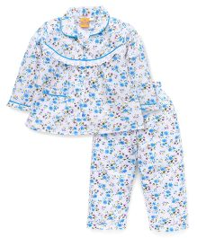Yellow Duck Full Sleeves Night Suit Floral Print - Blue White