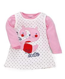 Doreme Frock With Inner Top Cat Embroidery - Pink White