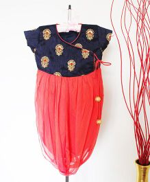 Pre Order - Hickory Dickory Cowl Tunic With Embroidered Yoke - Navy Blue & Coral