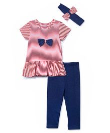 Chicabelle Striped Peplum Top With Lycra Jersey Legging & Hair Band - Blue