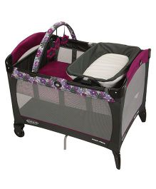 Graco Pack N Play Playard Portia With Reversible Napper & Changer - Dark Pink & Black