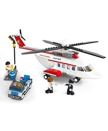 Sluban Aviation Helicopter Blocks Game - White Red Blue