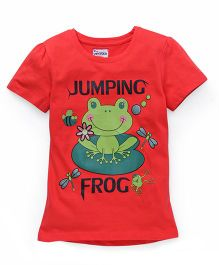 Ventra Jumping Frog Print Top - Red