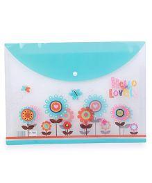 Floral Print Envelope Folder Pouch - Light Blue