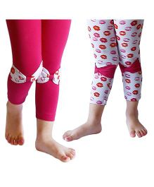 D'chica A Combo Of Two Chic Leggings With Bows - Fuchsia & White