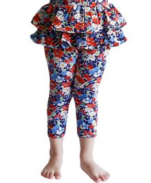 D'chica Pretty Floral Frilly Skirt Leggings For Girls - Multicolor